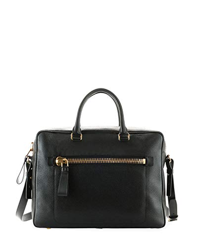 (Tom Ford Men's Buckley Front Zip Black Leather Briefcase)