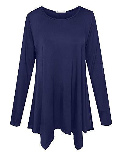 JollieLovin Womens Long Sleeve Tunic Top Loose Plus Size T Shirt (Navy Blue S)