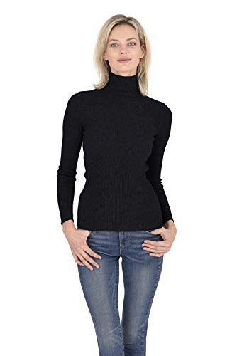 Cashmeren Women's 100% Pure Cashmere Classic Knit Soft Long Sleeve Ribbed Turtleneck Pullover Sweater (Black, Medium)