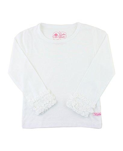 RuffleButts Little Girls Ruffled Long Sleeve Undershirt Tee - White - - Ruffled Shirt Girls