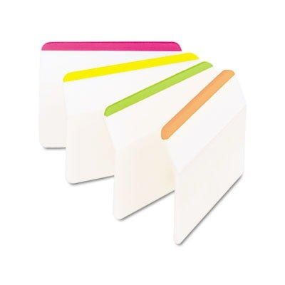 """Post-it 2"""" Durable Angled Hanging File Tabs, Assorted Bright Colors, 24/PK"""