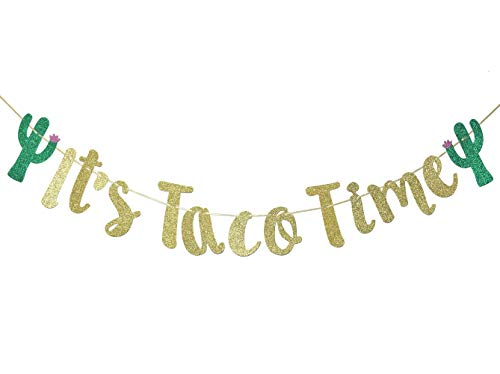 It's Taco Time Banner Bunting Sign for Mexican Fiesta Themed Birthday Bachelorette Wedding Party Decor Props Backdrop (Gold ()