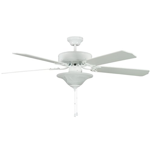 Concord Fans 52HES5EWH-ES 52 Inch Heritage Sq Ceiling Fan with Two 13 Watt GU-24 Bowl Light Kit - White (Bowls Concord Glass)