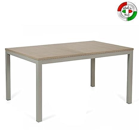 Tavolo da pranzo allungabile in legno e metallo da cucina larice ...