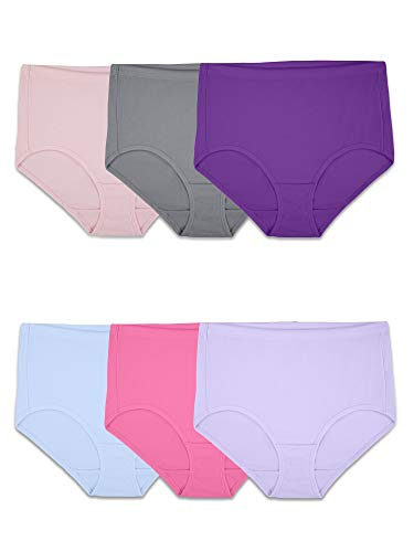 Fruit of the Loom Women's Underwear Breathable Panties (Regular & Plus Size), Cotton Mesh-Brief (6 Pack), 7 ()