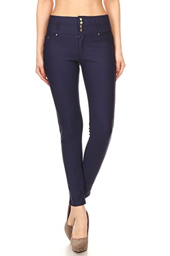 ICONOFLASH Women's High Waisted Stretch Skinny Ponte Knit Pants (Navy, Large)