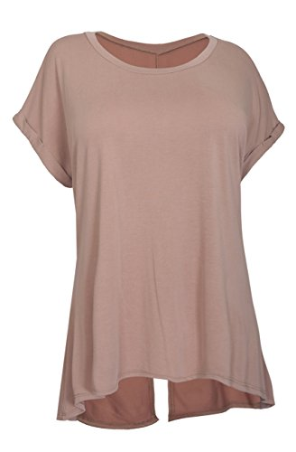 eVogues Women's Hi-Lo Hem Back Slit Top Blush - 3X (Back Top Slit)