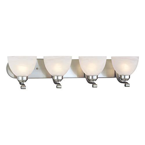 - Minka Lavery Wall Light Fixtures 5424-84 Paradox Reversible Glass Bath Vanity Lighting, 4 Light, 400 Watts, Nickel