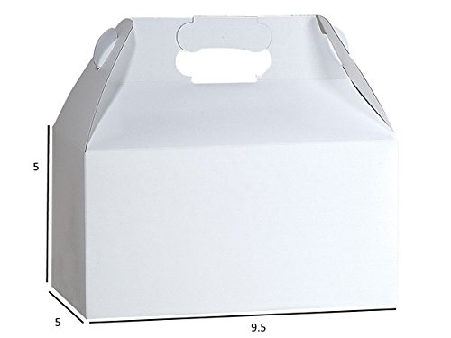 Gable Boxes, Large 9x6x6 Size - Gloss White Set of 6 by Rustic Pearl Collection (Image #1)