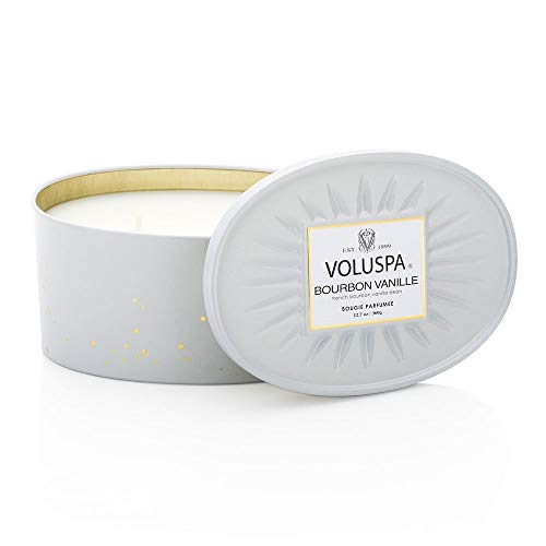 Voluspa Bourbon Vanille 2 Wick Candle In Decor Oval Tin 12.7