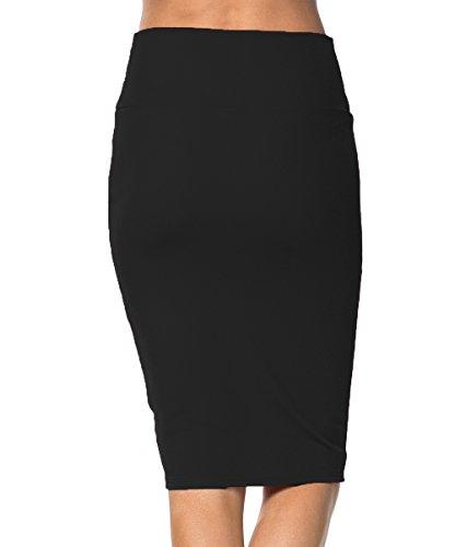 Urban GoCo Falda de Lápiz Estirada de Cintura alta Bodycon negro