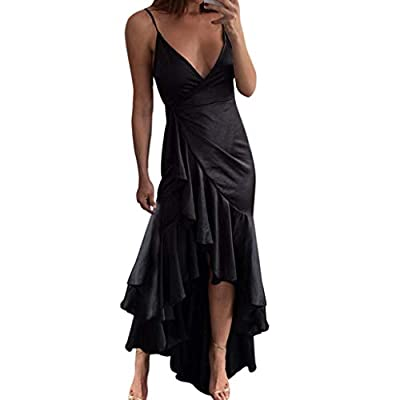 PASATO Womens Sexy Solid Bandage Irregularity Long Maxi Dress Sleeveless Ladies Deep-V Party Sling Dress