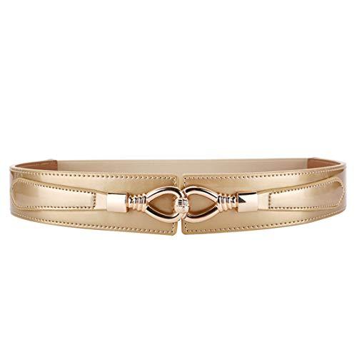 shengweiao Women's Fashion Belt Leather Elastic Stretch Wide Waist Belts (Pale Gold, S/Fit to waistline 28.3