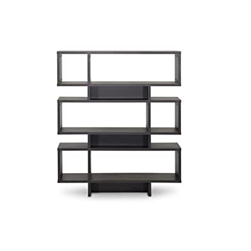Baxton Studio Cassidy 6-Level Modern Bookshelf, Dark Brown