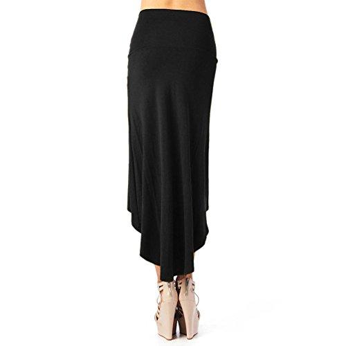URqueen Women's Fashion Solid High Low Hem Skirt Comfy Midi Skirt Black