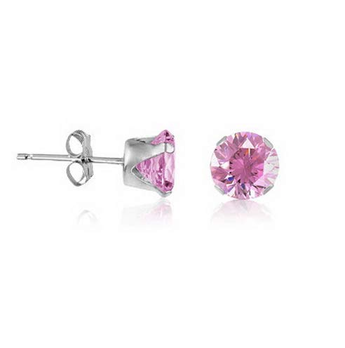 Campton Sterling Silver Stud Earrings Round - Pure Pink CZ~October Birthstone | Model ERRNGS - 14445 | 6mm - Large
