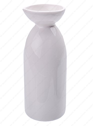 - Japanese Porcelain Sake Bottle Carafe, White, 16 Ounces, 2.75 Inches (Dia.), 7 Inches (H)