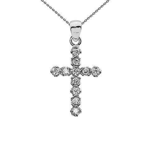 - Elegant High Polish Reversible 14k White Gold Diamond Cross Dainty Charm Pendant Necklace, 18
