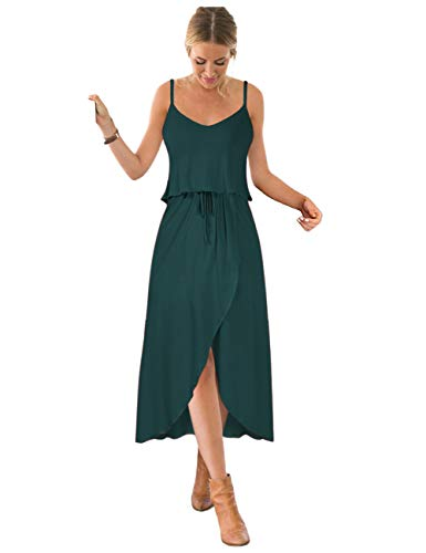 GlorySunshine Women Vintage V-Neck Split Side Maxi Long Evening Gown Dresses Upgrade (S, Deep green3)