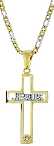 TC Religious Gold-Plated 'Jesus' Cutout Cross Necklace on 24