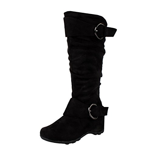 West Blvd Dhaka Knee High Riding Boots, Black Suede, 8.5