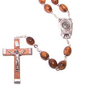 - Olive Wood Rosary with Holy Water from the Jordan River - With Certificate of Authenticity (51 cm or 20