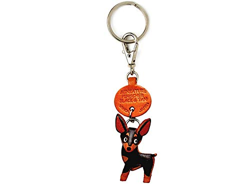 Miniature Pinscher Black&Tan Leather Dog Small Keychain VANCA Craft-Collectible Keyring Charm Pendant Made in Japan
