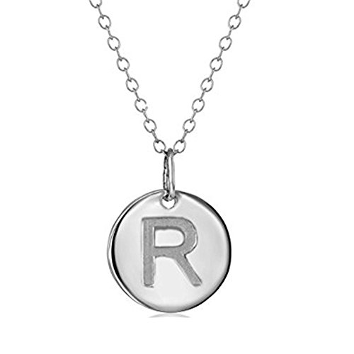 - 925 Sterling Silver Round Disc Initial Pendant Necklace (R)