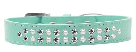 Mirage Pet Products Two Row Pearl and Clear Crystal Aqua Dog Collar, Size 18 by Mirage Pet Products