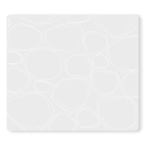 Twist Mat - modern-twist Pebbles Print Placemat 100% plastic free silicone, waterproof, adjustable, dishwasher safe, Rectangle, White