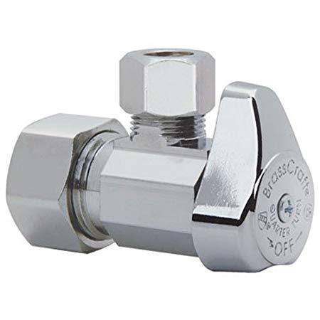 BrassCraft G2CR19X C1 1/2 in. NOM Comp Inlet x 3/8 in. OD Compression Outlet Chrome Plated Brass 1/4 Turn Angle Valve - 4 Pack