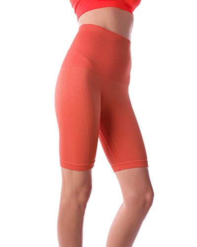 Homma Women's Tummy Control Fitness Workout Running Bike Shorts Yoga Shorts ... (X-Large, Coral)