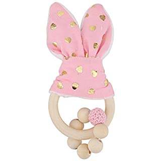 Natural Wooden Teether RingsToy, Bunny Ear Organic Baby Teething Toy Wood Teething Holder Nursing Soothing Toy for Baby Gift(Pink)