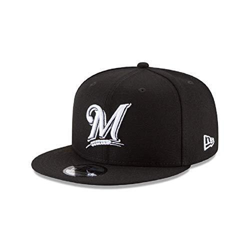 Milwaukee Brewers MLB Basic Black White 9Fifty Snapback Cap (White Baseball Brewers Milwaukee)