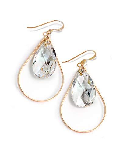 (SELFIE Swarovski Crystal Earrings In Clear   Gold Drop Earrings For Women   Teardrop   Gold Dangle   14K Gold Filled   Hypoallergenic   Women Jewelry   Birthday Wedding Summer Bridesmaid gifts )