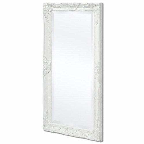 (Wall Mounted Mirror French Vintage for Bathroom Bedroom Makeup Hall Wall Mirror Baroque Style 100x50 cm White)
