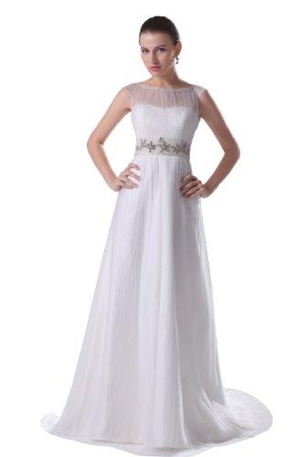 herafa p31639-2 Evening Gowns Clairvoyant Crewneck Sleeveless Delicate Beading Long A-Line White