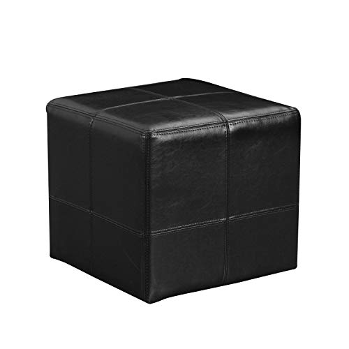 Joveco Black Square Ottoman Bonded Leather Button Tufted Small Foot Rest Z-Black Stool