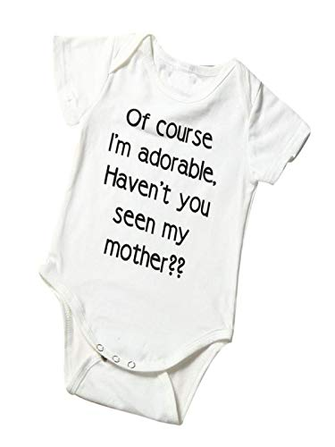 Infant Toddler Unisex Baby Short Sleeves Letter Print Romper Jumpsuit Outfits Clothes (3-6 Months, -
