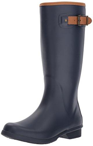 Chooka Women's Tall Memory Foam Rain Boot, Navy, 9 M US