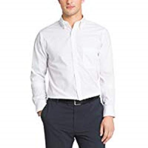 Van Heusen Men's Pinpoint Regular Fit Solid Button Down Collar Dress Shirt, White, 16.5