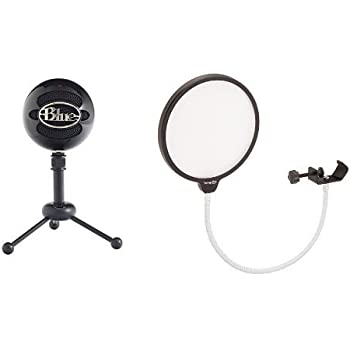 Blue Microphones Snowball USB Microphone, Cardioid Mode (Gloss Black), with Dragonpad USA Pop Filter