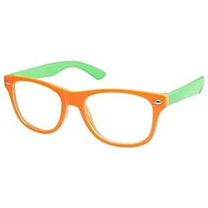 Kids Nerd Retro Two Color Frame Clear Lens Childrens Fake Eye Glasses (Age 3-10) Orange/Green