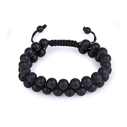 Black Onyx Eye - HASKARE Tiger Eye Stone Bracelet Men Women - Natural Energy Stone Essential Oil Lava Rock Black Onyx Tiger Eye Beads Bracelet Adjustable Couples (Onyx)