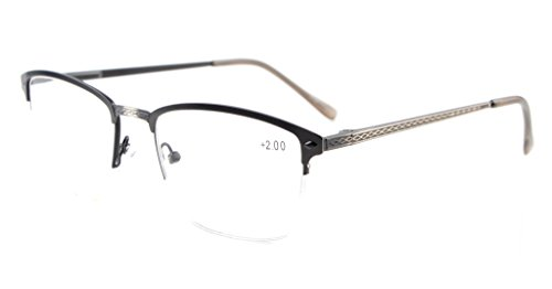 Eyekepper Quality Spring Hinges Brushed Metal Frame Half-rim Reading Glasses Rx-able Anti Silver +3.5 Spring Temple Half Reading Glasses
