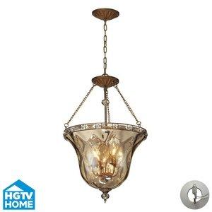 ELK 46022/4-LA, Cheltham Round Glass Semi Flush Ceiling Lighting, 4 Light, 80 Watts, Mocha