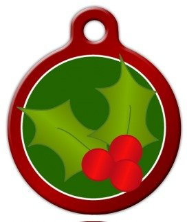 (Christmas Holly - Custom Pet ID Tag for Dogs and Cats - Dog Tag Art - LARGE SIZE)