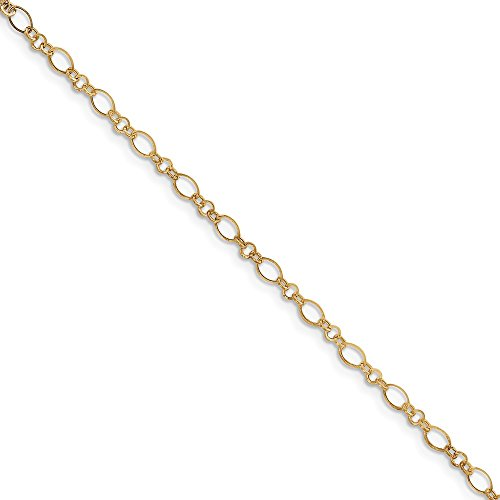 Mia Diamonds 14k Yellow Gold 9in with 1in Ext Anklet Bracelet -10