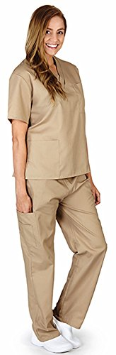 Natural Workwear Uniform Unisex Medical Nurse Scrub Set, Taupe 38755-XXX-Large (Scrubs New Natural Uniforms Top)
