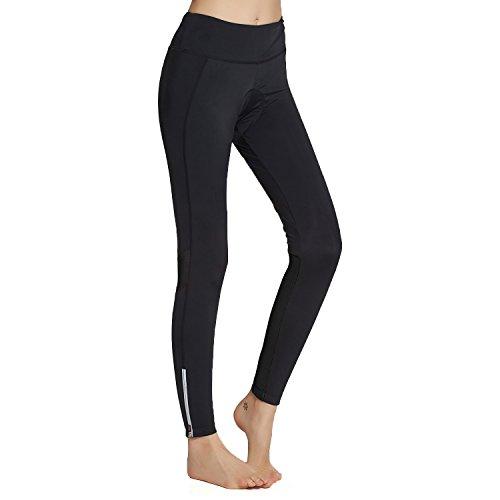 Tights Womens Cycling (Womens Cycling Pants Padded Long Bike Bicycle Tights Capri Pants Wide Waistband with Pocket(XL Black))
